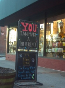 Grasshopper Shop uses its sign for cause marketing -- a good move, IMO.