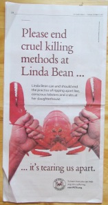 PETA ad shows bad Photoshop and a dead lobster masquerading as a live one.