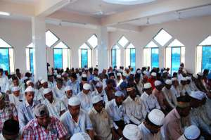 Moslems at prayer in a mosque